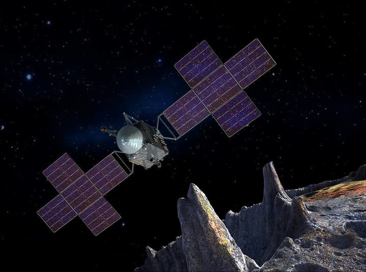 This artist's-concept illustration depicts the spacecraft of NASA's Psyche mission near the mission's target, the metal asteroid Psyche.