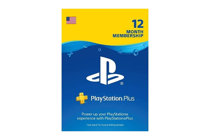 A PlayStation Plus card for a 12-month subscription.
