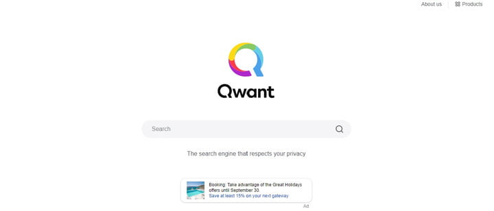 Home page of Qwant.