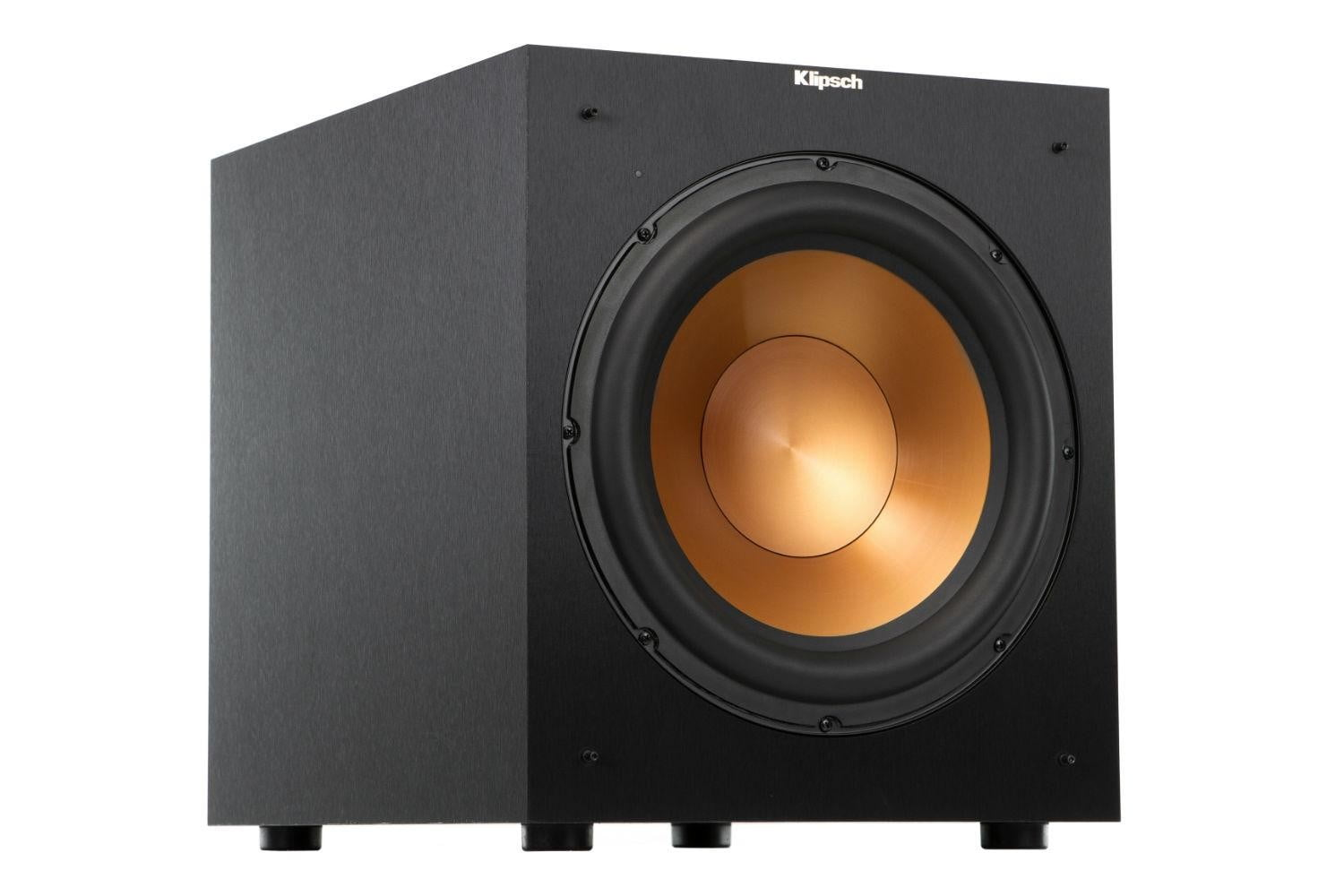klipsch unveils stockpile new speakers reference home theater line r 12sw angle