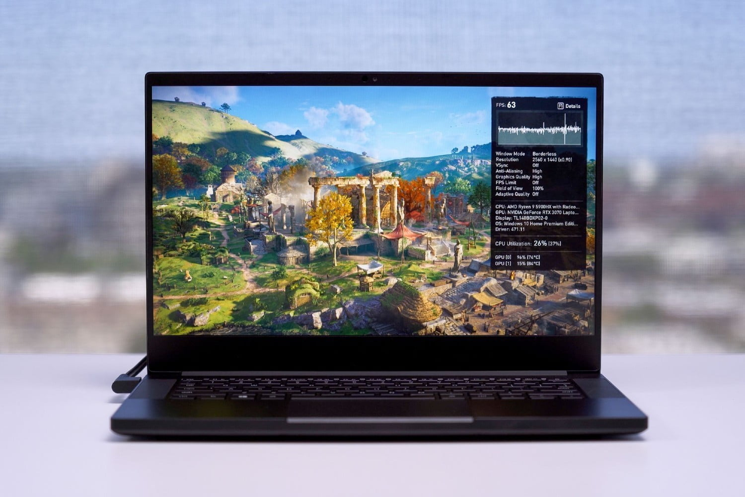 Razer Blade 14 front view showing display and keyboard deck.