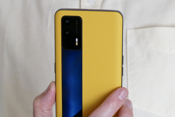 Realme GT yellow and black back close up.