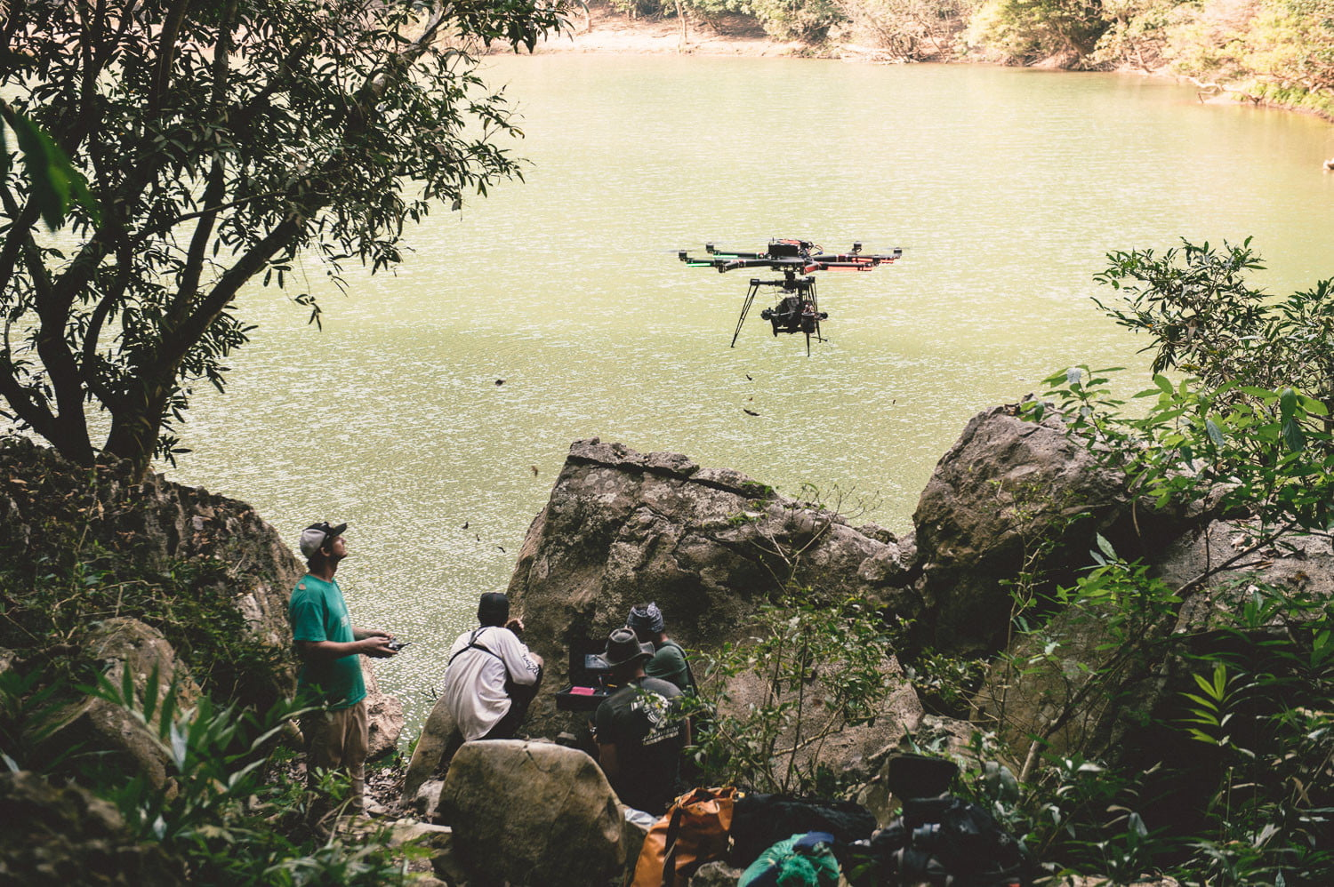 Red Bull Blood Road behind the scenes flying drone over river