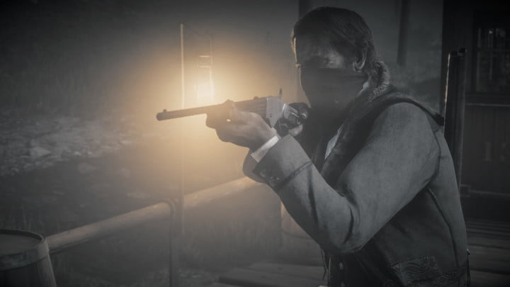 Character holding a rifle in Red Dead Redemption 2.