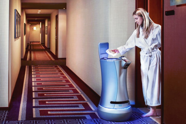 relay the hotel room service robot delivery