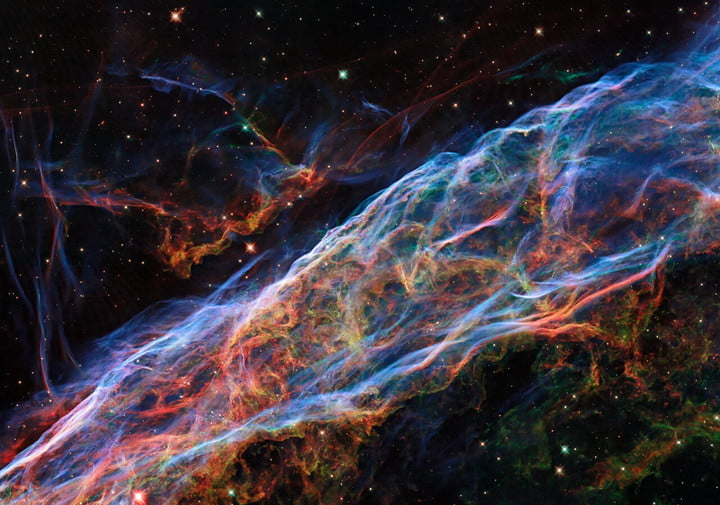 The Veil Nebula and its delicate threads and filaments of ionized gas.