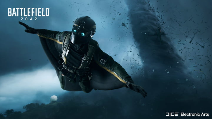 A player with a wingsuit flies away from a tornado in Battlefield 2042.