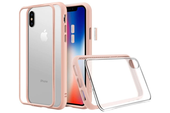 Photo shows the front, rear, and side view of a clear and pink iPhone XS case by Rhinoshield