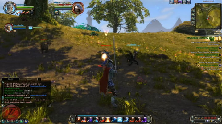 A knight fighting in the woods in Rift.