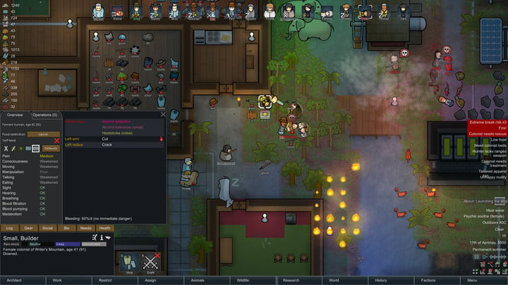 Colonists attacking each other in RimWorld.