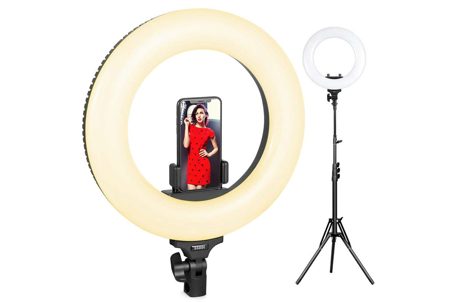 promo code saves 40 off ring light with stand and phone holder esddi 14inch outer adjustable color temperature 3200k 5600k 1