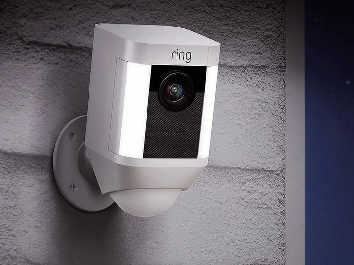 Mounted Ring video doorbell ready to work.