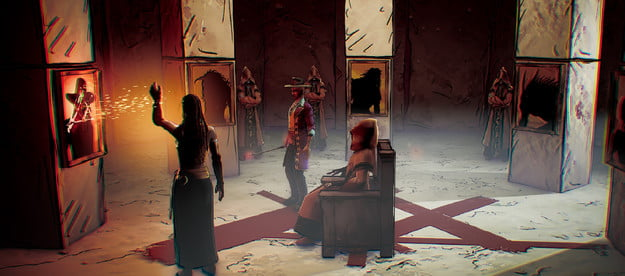 A dark ritual taking place in the game Weird West.