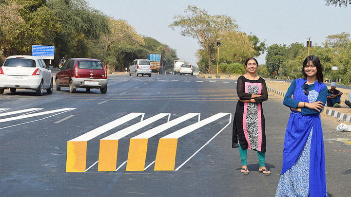 Optical illusion paintings on roads slow dangerous traffic