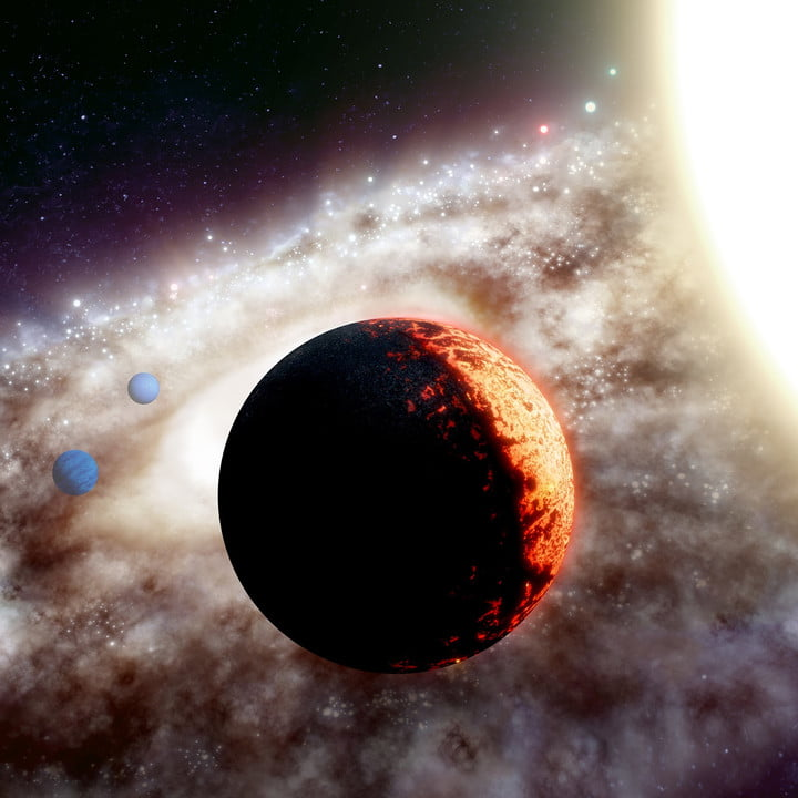 Artist's rendition of TOI-561, one of the oldest, most metal-poor planetary systems discovered yet in the Milky Way galaxy.