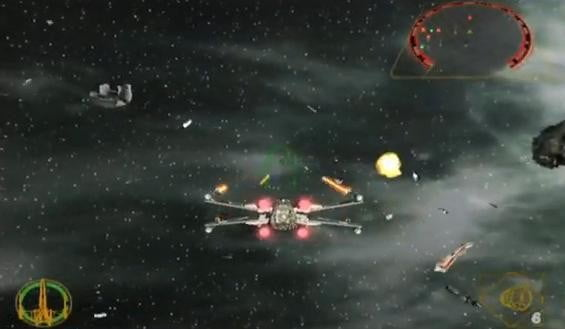 An X-Wing in sapce in Star Wars Rogue Leader: Rogue Squadron II