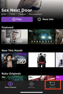 The Roku app home screen on an iPhone.