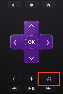 The private listening headphones icon on the Roku app.
