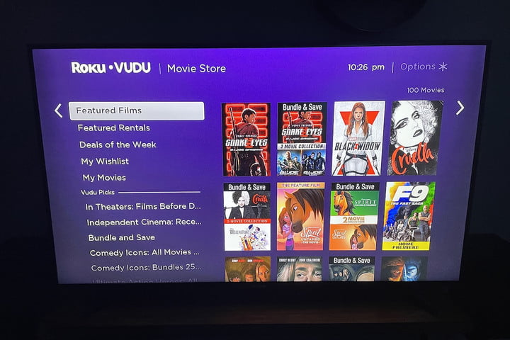 The Movie Store page for Roku.