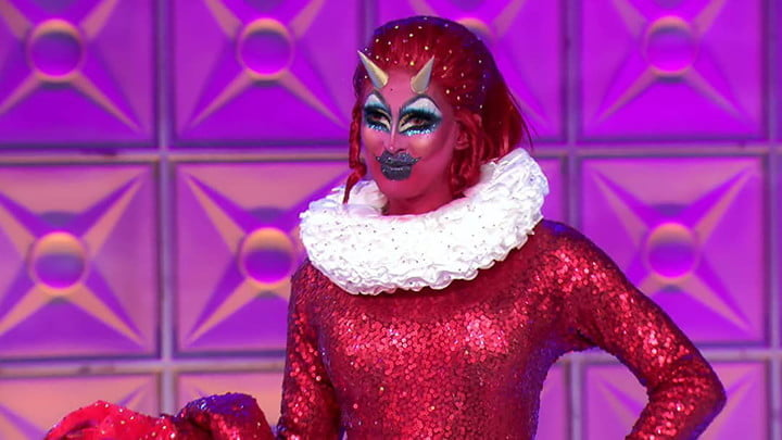 A contestant dressed in drag on RuPaul's Drag Race on Hulu.