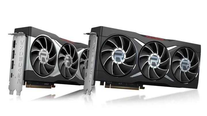 Black and silver AMD RX 6800 XT graphics cards.
