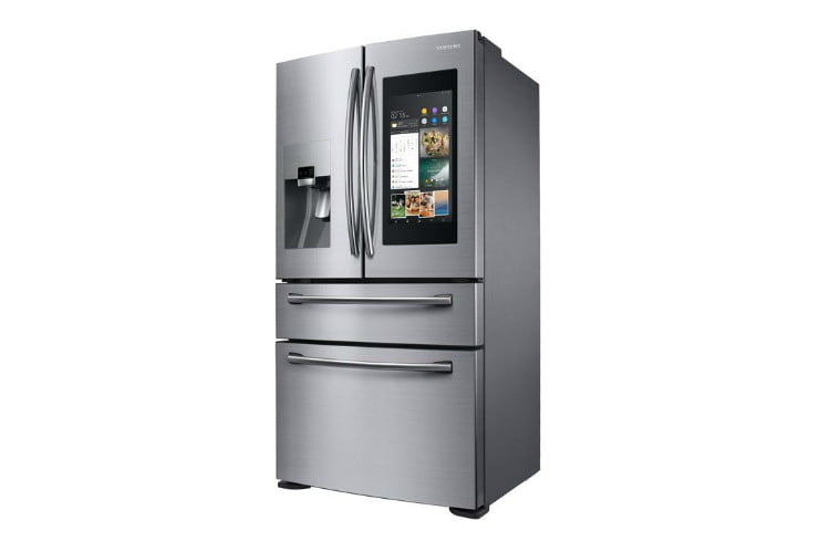 home depot chops samsung and lg french door fridge prices  21 9 cu ft family hub 4 smart refrigerator in stainless steel coun