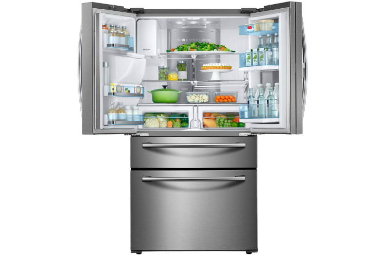 home depot chops samsung and lg french door fridge prices 22 4 cu f  food showcase refrigerator in stainless steel counter de