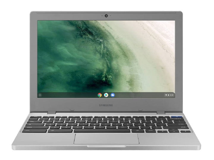 Samsung CB4 Chromebook in gray with a landscape image on the display.