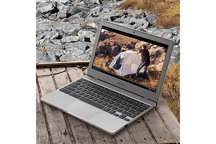 Samsung Chromebook 4 on a table outside.