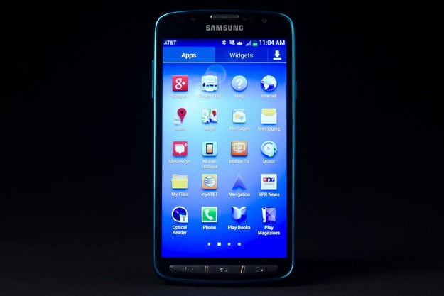 Samsung Galaxy S4 Active review front screen on app grid