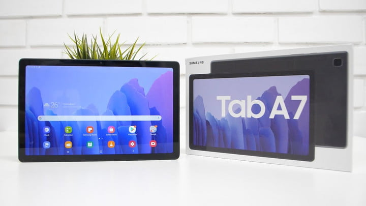 Samsung Galaxy Tab A7 tablet home screen with white background home