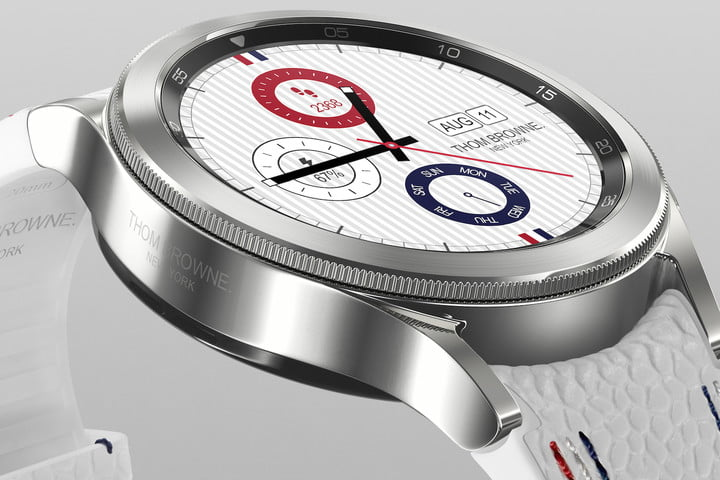 Close-up of the custom watch face on the Samsung Galaxy Watch 4 Classic Thom Browne Edition.