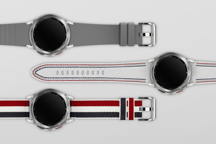 Straps with the Samsung Galaxy Watch 4 Classic Thom Browne Edition.