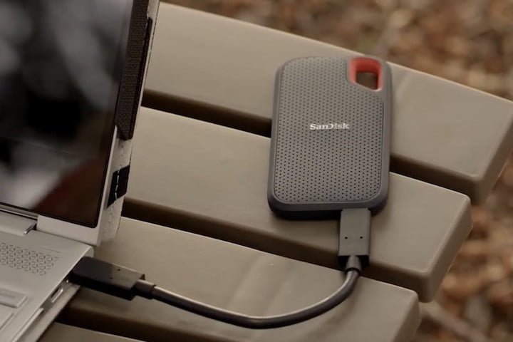 The SanDisk Extreme SSD while outdoors.