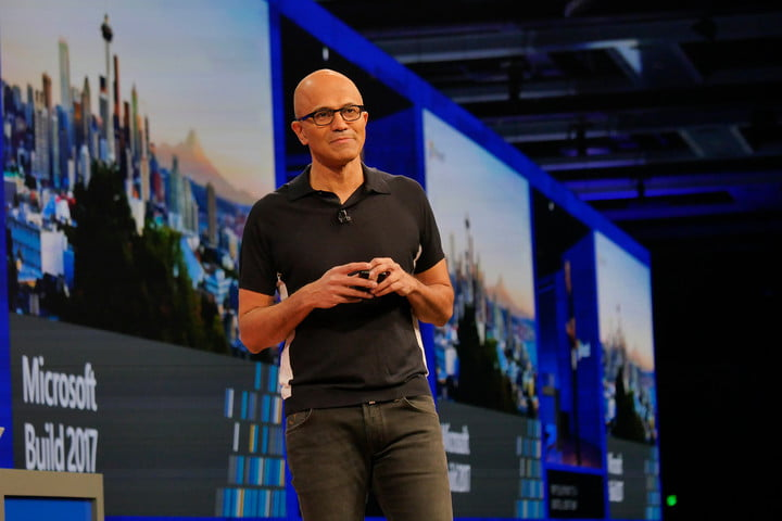 office 2019 mid 2018 satya nadella chief executive officer on stage at microsoft build 2017