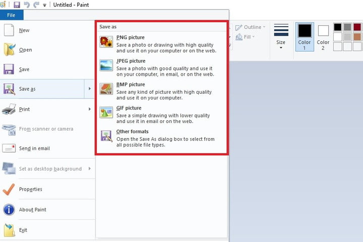 Save As menu and image format options in Paint screenshot.