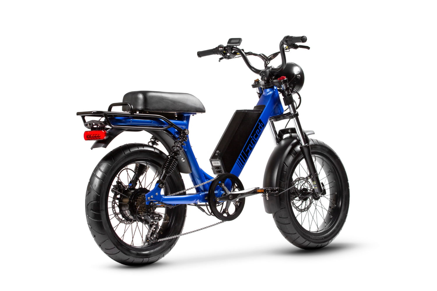 juiced bikes scorpion moped style e bike packs performance safety and comfort blue backangle