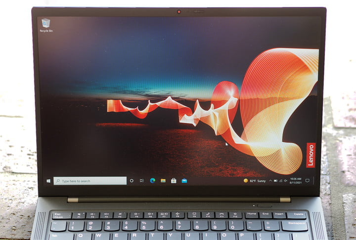 Zoomed in view of the screen on the Lenovo ThinkPad X1 Carbon Gen 9.