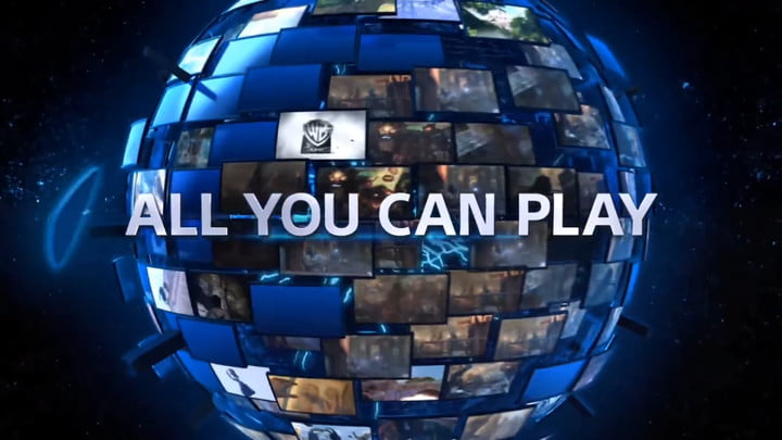A globe of screens behind the words All You Can Play.