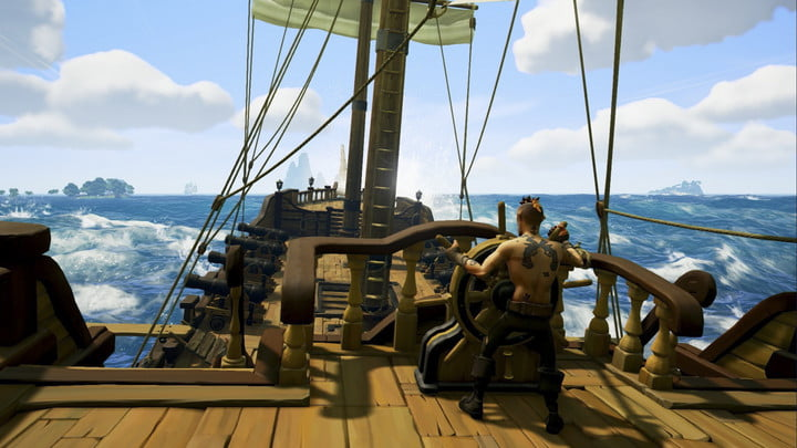 A helmsman turning the ship.