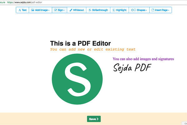 A Sejda PDF editor web app screenshot showing the web app's various editing options and a Save button.