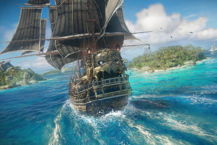 A ship rounds a small island in Skull & Bones.