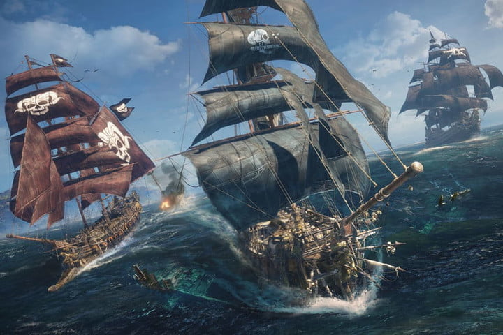 Ships fire at each other on the high seas in Skull & Bones promo images.