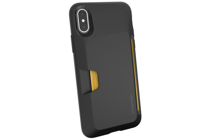 Picture shows the rear view of an iPhone XS in a black wallet case from Smartish