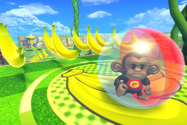 GonGon rolls across a stage full of bananas.