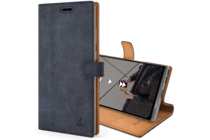 Snakehive Vintage Leather Wallet in navy for the Samsung Galaxy Note 20 Ultra.