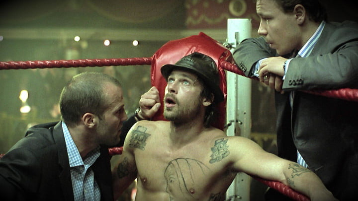 Brad Pitt in a boxing ring in a scene from Snatch.