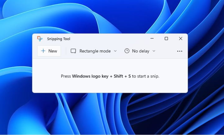 The new version of the Snipping Tool in Windows 11.