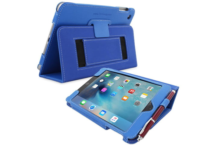 iPad Mini 5 in a blue case showing the screen and app icons.
