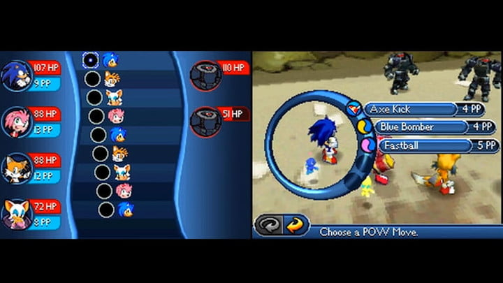 Sonic choosing an attack against two robots.